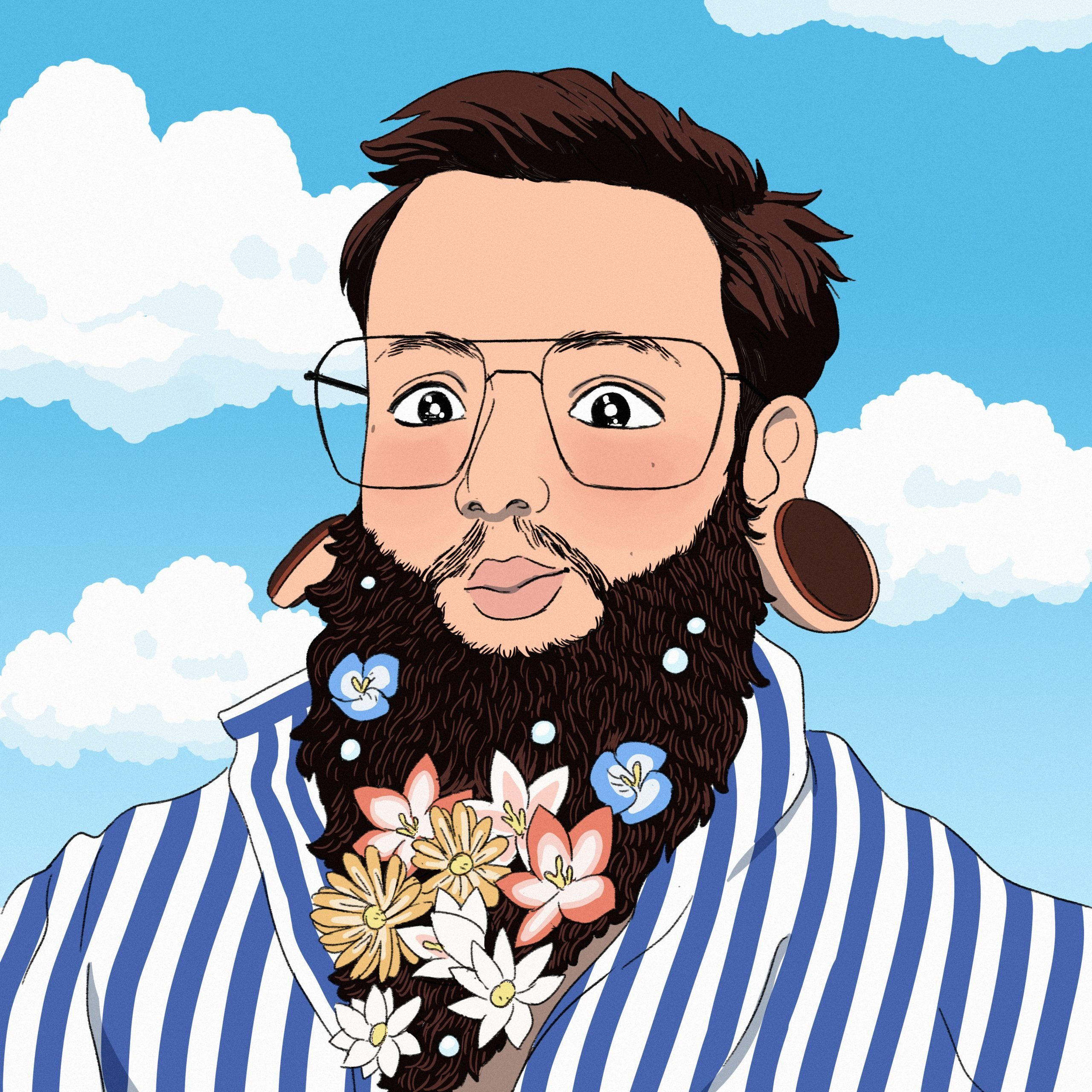 Illustrated Portrait of Peter Oswald with flowers in his beard in front of a blue sky with fluffy clouds